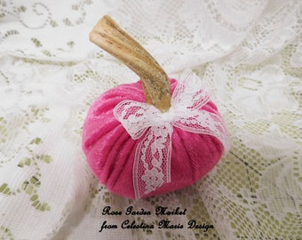 Velvet Pumpkin, Hot Pink Shabby Chic, Real Pumpkin Stem,White Lace Ribbon, Fall Decorating, Hand Sewn and Created, ECS