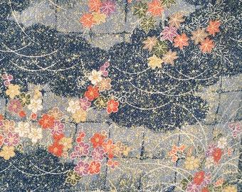 Vintage Kimono Silk - Sakura with Leaves and Branches on Traditional