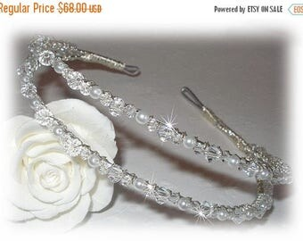 ON SALE 20% OFF Swarovski Pearl Crystal Slim Double Bridal Headband Tiara Band Crown Wreath Gold Silver White Ivory Headpiece Hairpiece Alic