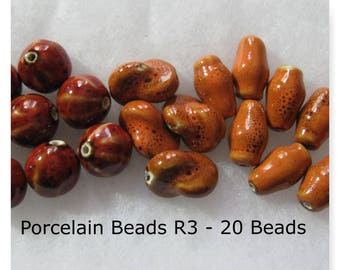 Porcelain Beads Assorted Shapes Orange Red Brown Beads R3