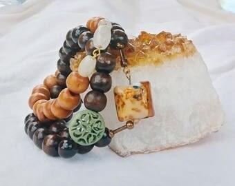 Wood bead stretch bracelets, stackable beaded bracelets, boho chic jewelry, Bohemian bracelets, wood bead jewelry, stackable jewelry, peace