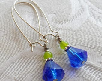 75% Off, Vintage Glass Bead, Royal Blue, Lime Green Czech Glass, Silver Accent