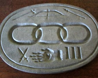 Vintage Antique Early 1900's Oval Aluminum Metal Cookie Mold Marzipan Mold Mason Symbol Design