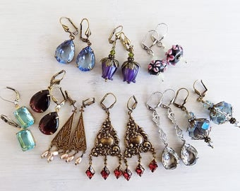 Earring lot, Gift Lot, Instant collection,Bridesmaid Gift,Vintage Style, Wedding, Blue, Ruby, Purple, Turquoise, Gift woman, Gift Girl