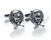 Mens Sterling Skull Cufflinks, Mens WINGED SCARAB Cuff Links, Steampunk Jewelry, FEATURED in Mag Rocker Biker Boyfriend Gift - by edmdesigns