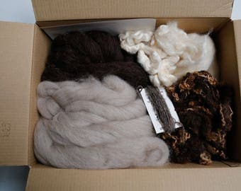 Felting feltmaking spinning fibre art texture pack naturals over 470g