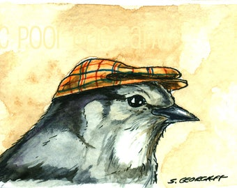 Gray Jay with a Hat  - Original ACEO Painting