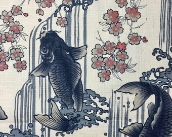 Carp, Waterfall, and Cherry Blossoms Japanese cotton dobby fabric Koi Sakura IVORY IGA-14240-2A