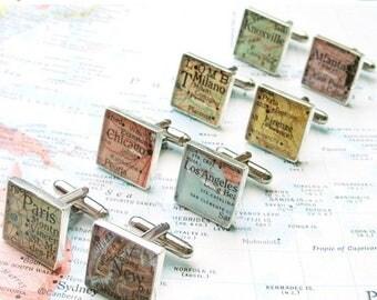 SUMMER SALE Custom Map Cufflinks.  You Select the Journey.