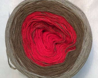 3-ply light fingering gradient tied cotton 100g Scarlet Sierra v.1