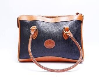 Summer Sale Vintage  Dooney and Bourke Handbag //  Navy Blue with Brown Leather // Medium Bag