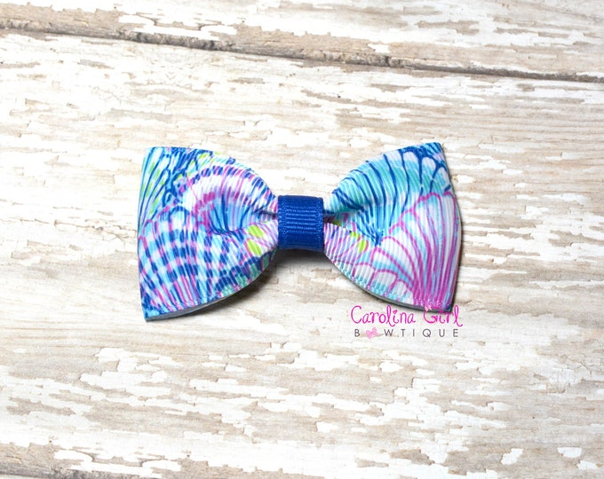"Blue Oh Shello ~ 3"" Hair Bow Tuxedo Bow ~ Lilly Inspired ~ Simple Bow ~ Boutique Bow for Babies Toddlers ~ Girls Hair Bows"