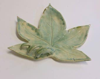 Green Leaf Shaped Pottery Spoon Rest or Decorative Tray with Decorative Stem