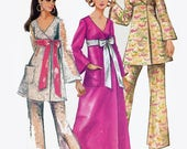 1960s MadMen Wrap Dress, Tunic w/ Wide Leg Pants Bell Sleeves Pants Sewing Pattern Simplicity 8505 1960s Sewing Pattern Size 10 Bust 32.5
