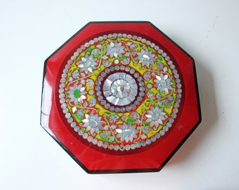 Large red lacquered Asian box with pearl inlay
