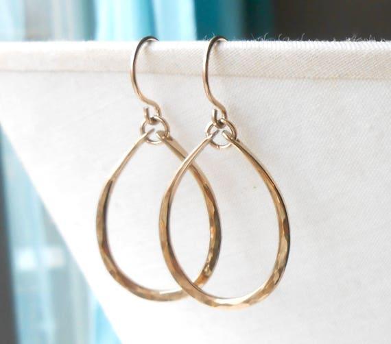 Hammered Gold Dangle Earrings, Gold Filled Oval Hoop Earrings
