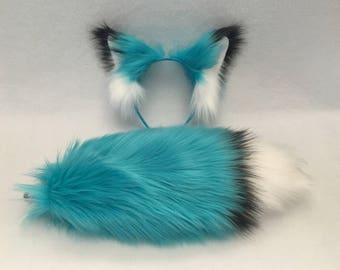 MATCHING FOX SET | Blue | Belfry Costume Creations | Costume Cosplay Furry Halloween Tail Ears Headband Accessory Kitsune Anime Rave Goth
