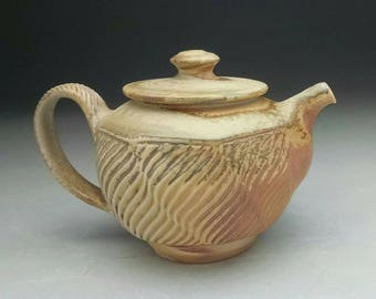 Faceted WoodFired Porcelain Teapot