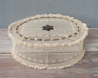 Vintage Food Cover, Mesh Basket Picnic Cover, with hand embroidery, Cake Cover 1930's made in Spain