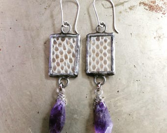 Real Snake Skin Earrings Amethyst Crystal Jewelry