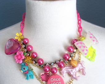 Once Upon a Time Wonderland Unicorn Charm Statement Necklace