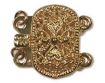 Two Strand Gold Plate Oval Filigree Push Pull Box Clasp - Multi-Strand Clasp with Jumprings - 3 Clasps