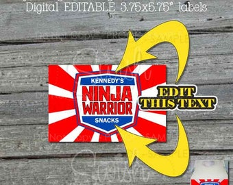 "Ninja Gable Box Labels | 3.75x5.75"" red white and blue labels 