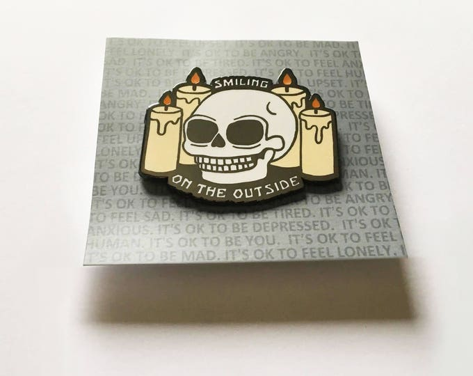 "2"" Hard Enamel Pin Smiling on the Outside - Limited Edition Glow in the Dark"