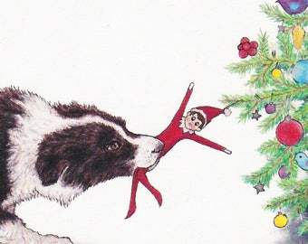 Elf Control Boxed Set of 6 Cards Christmas Image Dog and Elf and Tree from an Original Color Pencil Drawing