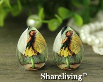 SALE - 30% OFF 4pcs 18x25mm Handmade Photo Teardrop Glass Cabs Cabochons (Flower Fairy) -- BCH962G