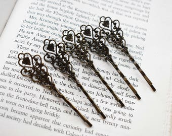 Filigree Antique Brass Tone Hair Pins - Glue On Hair Stick Supply- Antique Brass Hair Sticks- Make Your Own Hair Accessory- Set of 5