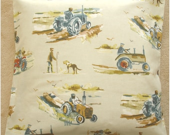 "Tractor Pillow Cover 20x20 Gold Beige Grey 20"" Farm Vehicles Cushion Vintage Style Sham Slip Case Farm and Farmer Tractors Farming 50cm"