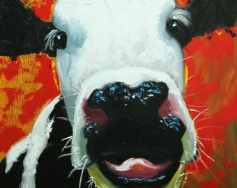Cow painting 1225 20x20 inch animal original oil painting by Roz