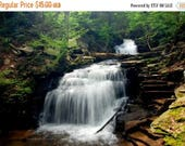 """50% OFF SALE Earth Day, Waterfall Picture, Nature Photo, Landscape Photography, Woodland, Stream, Forest, Green - 5x7 inch Print -""""Legend"""""""