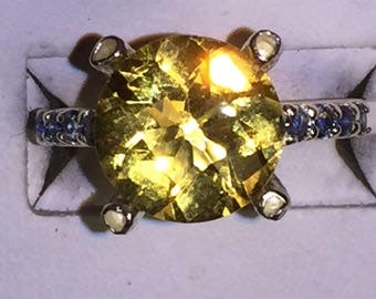 Citrine and blue sapphire silver Ring size 6.5