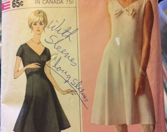 Vintage 60's Sewing Pattern Simplicity 6295  Misses Dress Bust 36 inches Complete