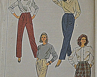 Christmas in July Vintage Simplicity Sewing Pattern 7664 Misses' Pants waist 24 inches Uncut Complete Fuss Free Fit
