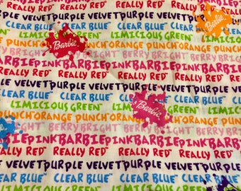 Barbie Color Me Fabric by the Half Yard Cotton Fabric Quilting Fabric