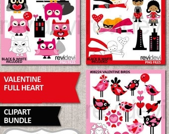 Valentine clipart bundle commercial use graphic / pink red black / superhero, owl, polkadot birds Valentine's day clip art / full heart