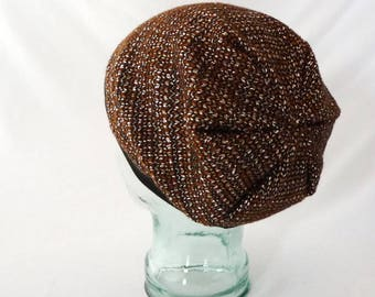 Slouchy Hat, Womens Hat, Boho Hat, Hipster Beanie, Hippie Winter Hat, Toque, Chestnut Brown, Silver, Black, Gift for Her, Comfy, Wool Beanie