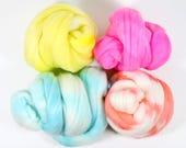 fun house .. wool roving set, weaving creative yarn bundle, handspinner, hand dyed merino wool, hand spinning