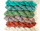 peach loves mint ... handspun yarn set, weaving creative yarn bundle, hand spun, hand dyed yarn, handspun art yarn