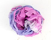 amethyst .. hand dyed silk ribbon yarn, recycled silk fabric ribbon, soft knitting, weaving, crochet supply