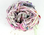 misty  .. hand spun art yarn, wool yarn, handspun, soft rainbow knitting wool, weaving, crochet supply