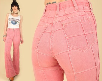 ViNtAgE 70's Patchwork Bell Bottoms High Waisted Pink ELEPHANT BELLS Cafe Crowd by Arpeja Rare Denim Hippie Jeans 26 Waist