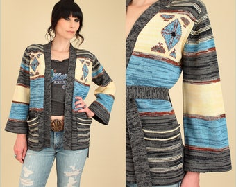 Vintage Wrap Sweater 70's Space Dye Cardigan // With Belt Belted Kimono Bell Sleeve // Southwestern HiPPiE BoHo M Medium
