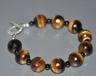 Beaded Gemstone Bracelet, Tiger Eye Gemstone, Black Onyx, Healing Stone, Tiger Eye Jewelry, Gemstone Bracelet
