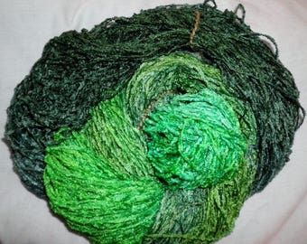 Handpainted Soft Rayon Chenille Yarn  KRYPTONITE  -  325 yds