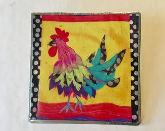 Chicken Print Pin hand cut metal work just plain Jane designer fun fresh Totally Hammered