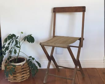 Vintage Folding Camp Chair /Stool. khaki color Canvas Cloth Seat, Use as a chair or stool